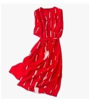 2018 new spring silk silk red stripe thin V collar lengthening dress