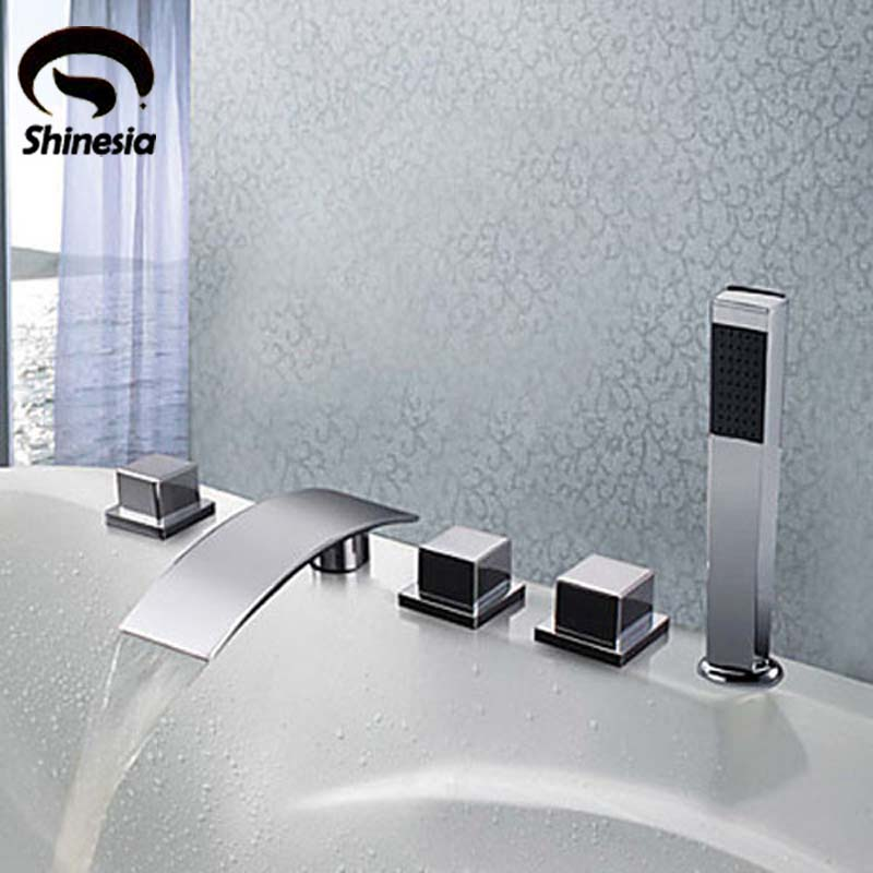 Brass Chrome Polished Waterfall Bathtub Faucet 5pcs Mixer Tap W/ Handheld Shower