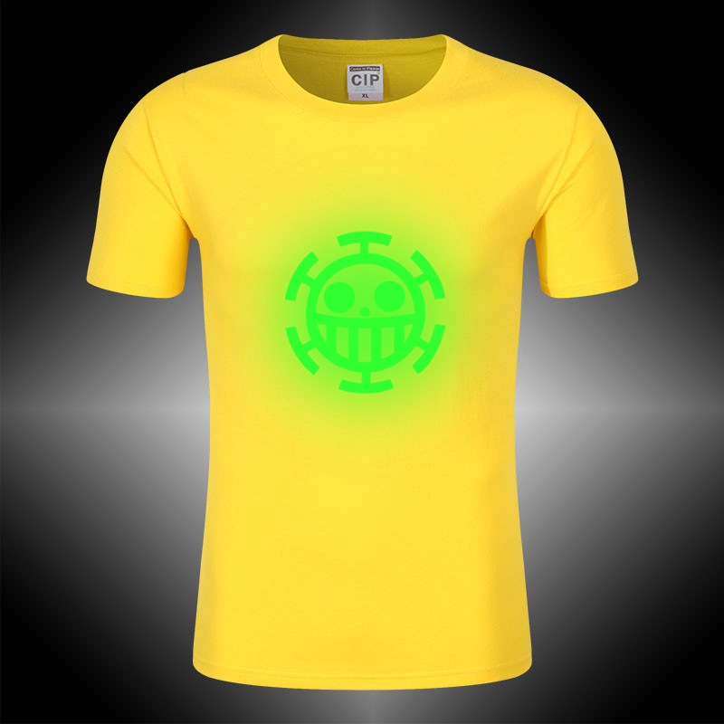 100% Cotton One Piece T Shirt Kid Anime Trafalgar Law Cosplay T-shirt Neon Light Glow In Dark Funny Tshirt Party Summer Tees For Fast Shipping