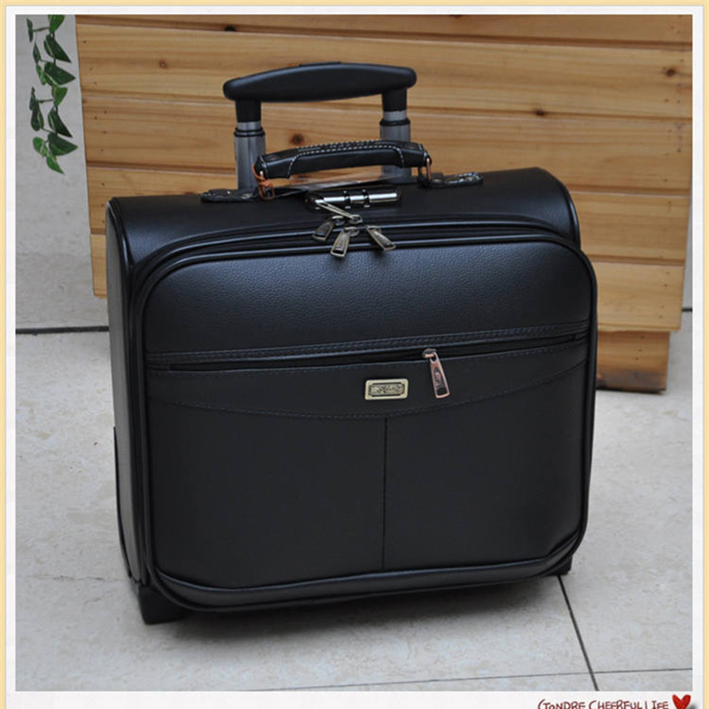 LeTrend 16 Inch Multifunction Rolling Luggage PU Leather Suitcase Wheels Men Women Carry On Trolley Pilot Travel Bags Laptop Bag