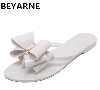 BEYARNE Koreanische stil, Mode, frau gelee strand sandalen dame flip flops flache regen rutschen bowtie frauen sommer Hausschuhe schuhe 36  41