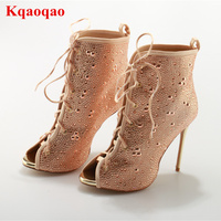 Crystal Decoration Peep Toe Thin High Heel Lace Up Women Summer Boots Cuts Out Party Walkway