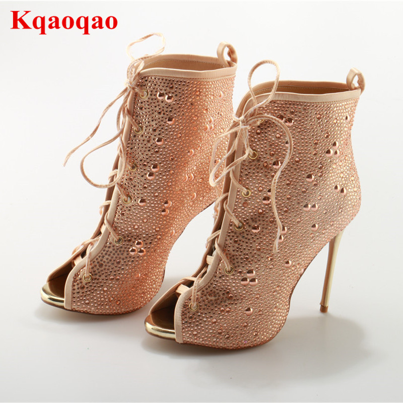 Crystal Decoration Peep Toe Thin High Heel Lace Up Women Summer Boots Cuts Out Party Walkway Street Snap Female Botas Femeninas top selling 2017 summer sexy women solid black open toe cross lace up gladiator cuts out thin heels high heel sandals party shoe