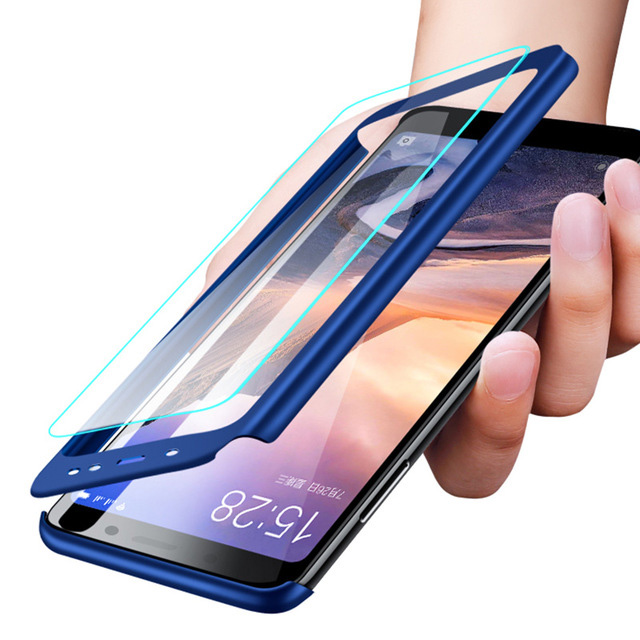 Olhveitra Case For Xiaomi MiMax3 Mi Max <font><b>3</b></font> <font><b>2</b></font> Case 360 Full Cover Protective + Tempered Glass Film For Xiaomi Pocophone F1 Fundas image
