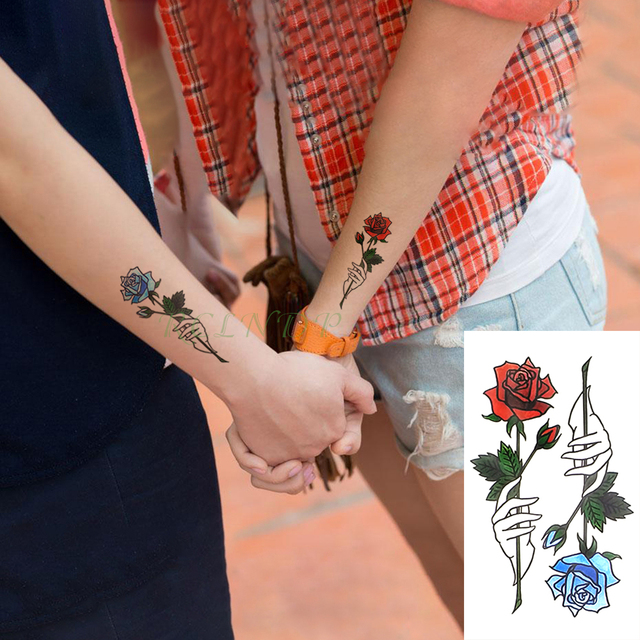 Waterproof Temporary Tattoo Stickers Red Blue Rose Fake Tatto Flash