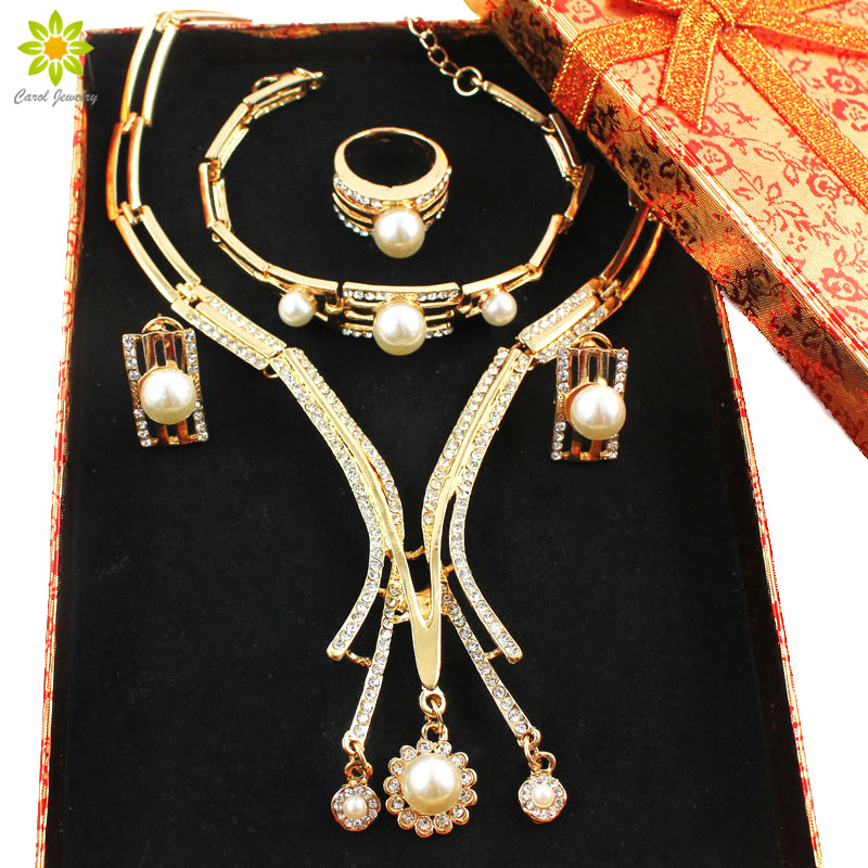 Fine Jewelry Set Gold Color Dubai African Crystal Simulated Pearl Necklace Sets Wedding Bride Jewelry Set +Gift Boxes
