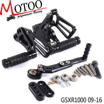 Motoo - Full CNC Aluminum Motorcycle Adjustable Rearsets Rear Sets Foot Pegs For SUZUKI GSXR1000 2009-2016