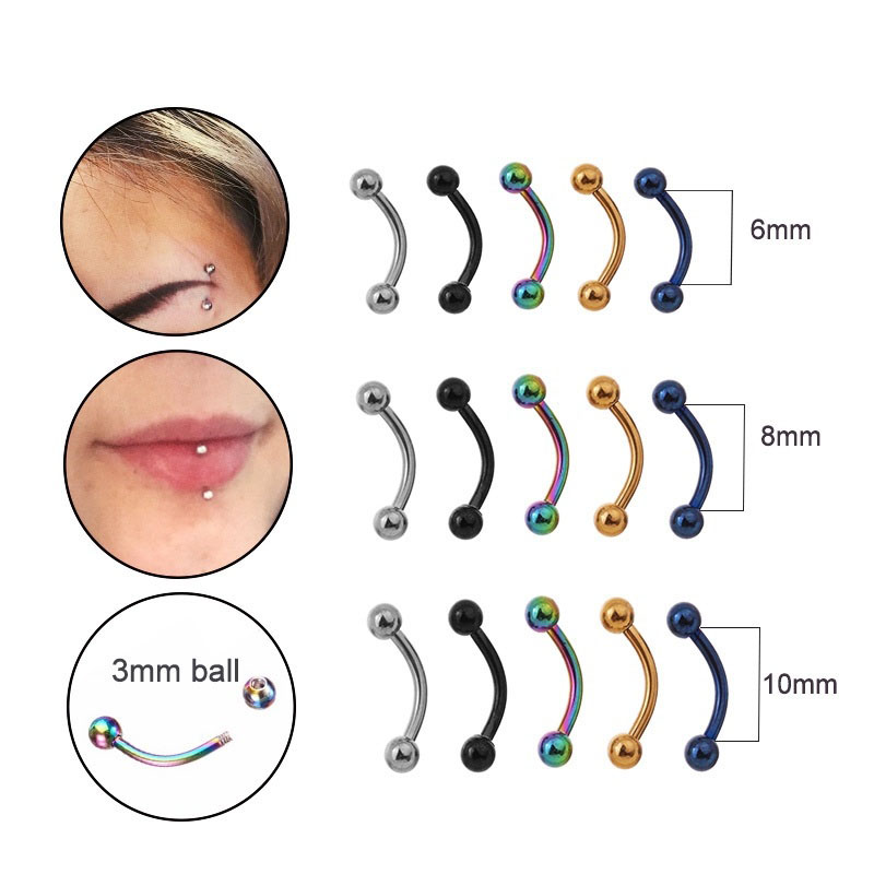 Sellsets 5pcs/lot 6/8/10mm 16G Surgical Steel 3mm Ball Eyebrow Piercing Curved Barbell Lip Ring Snug Daith Helix Rook Earring