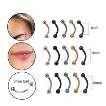 Sprzedaże 5pcs lot 6 8 10mm 16G Stal chirurgiczna 3MM Ball brwi piercing zakrzywione Barbell lip Ring Snug Daith Helix Rook kolczyk tanie tanio Moda Body Jewelry Trendy Geometryczne Stal nierdzewna SSJR7090509 Metal Eyebrow Jewelry Sellsets 1 2x6x3 3mm and 1 2x8x3 3mm and 1 2x10x3 3mm