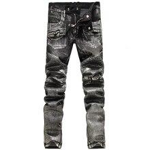 2016 новая мода мужчины байкер джинсы известная марка дизайн slim fit рваные джинсы большие джинсы размер мужской