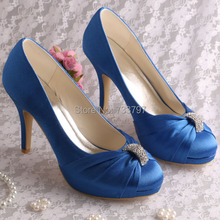 Wedopus MW643ออกแบบรองเท้าแต่งงานผู้หญิงสีฟ้าซาตินปั๊มแพลตฟอร์มขนาดเล็กขนาด8