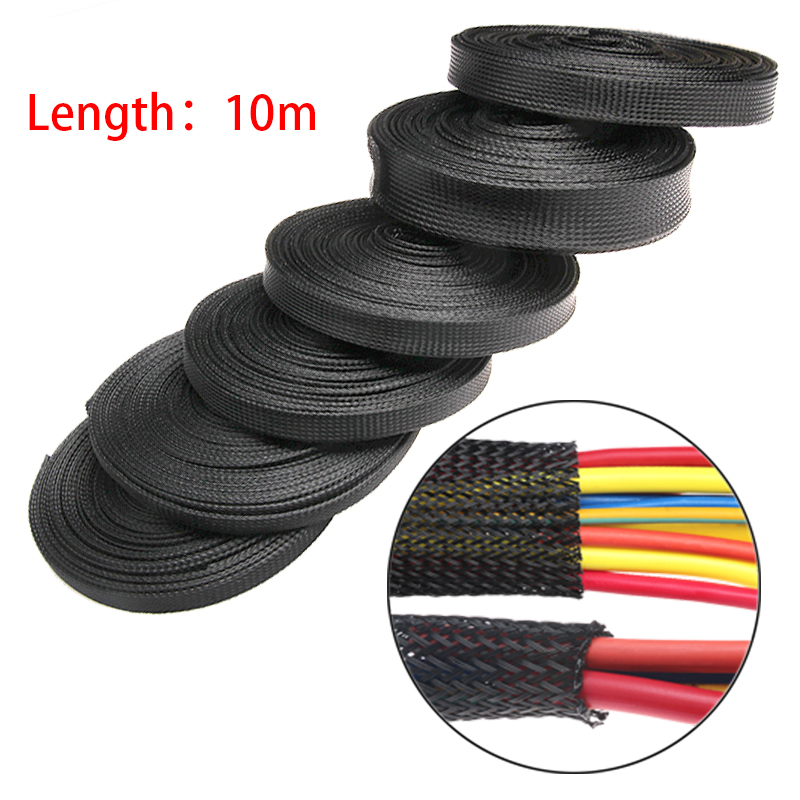 10M 8m/10mm/12mm/15mm/25mm/30mm Black Insulation Braided Sleeving Tight PET Expandable High Density Sheathing Wire Protection