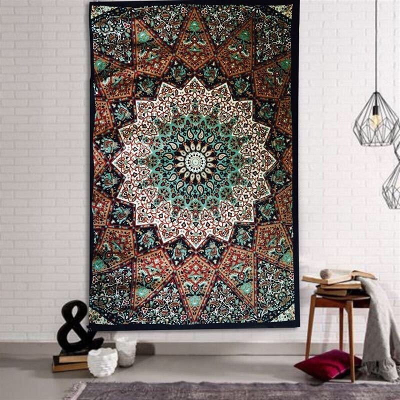 Image 5 - 148X200CM Hippie Mandala Tapestry Wall Hanging Indian Bohemian Psychedelic Tapestry Wall Fabric Boho Decor Wall Carpet Mattress-in Tapestry from Home & Garden