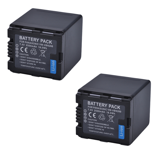 2Pc Battery VW VBN26 VBN260 Battery for Panasonic VW VBN26 HC X800, HC X900, Panasonic VW VBN390 VBN130 HC X910 HC X920