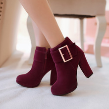Big size 34-43 autumn winter ankle boots heels fashion women shoes high heels suede platform boots for women ladies shoes