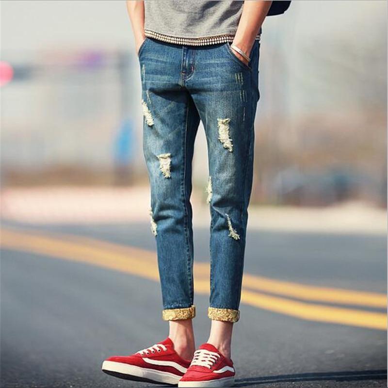 2018 Mens Summer Thin Slim Flush Small Pedal Hole Casual Retro Harem Pants Nine Waist Straight Dark Blue Jeans 28-34