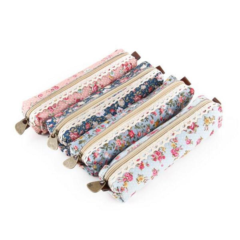 Hot Sales Cute Kawaii Floral Flower Canvas Zipper Pencil Cases Lovely Fabric Flower Pen Bags School Supplies