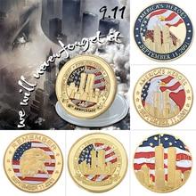 Нью-Йорк 9/11 нормальная позолоченная монета США 11 сентября Соединенные Мы стоим вызов монета для сбора
