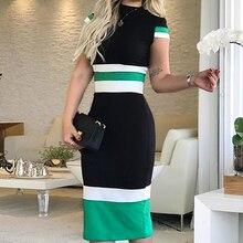 Fashion Women Stitching Hit Color Bodycon Dress Summer Casual Work Wear O-Neck Short Sleeve Midi Dress ol style plunging neck sleeveless hit color bodycon women s dress