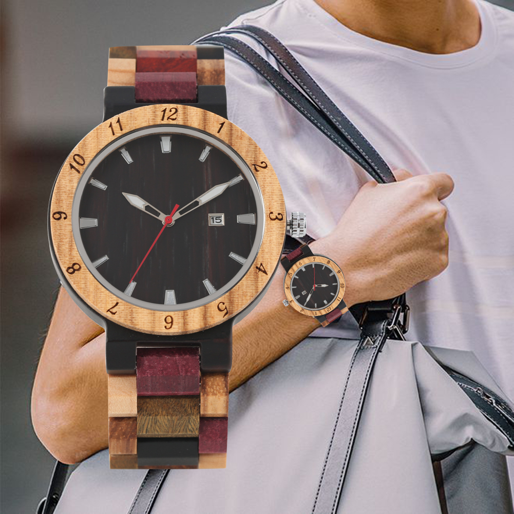 Men's Colorful Strap Wooden Watch Natural Ebony Wooden Quartz Wooden Wristwatch(China)