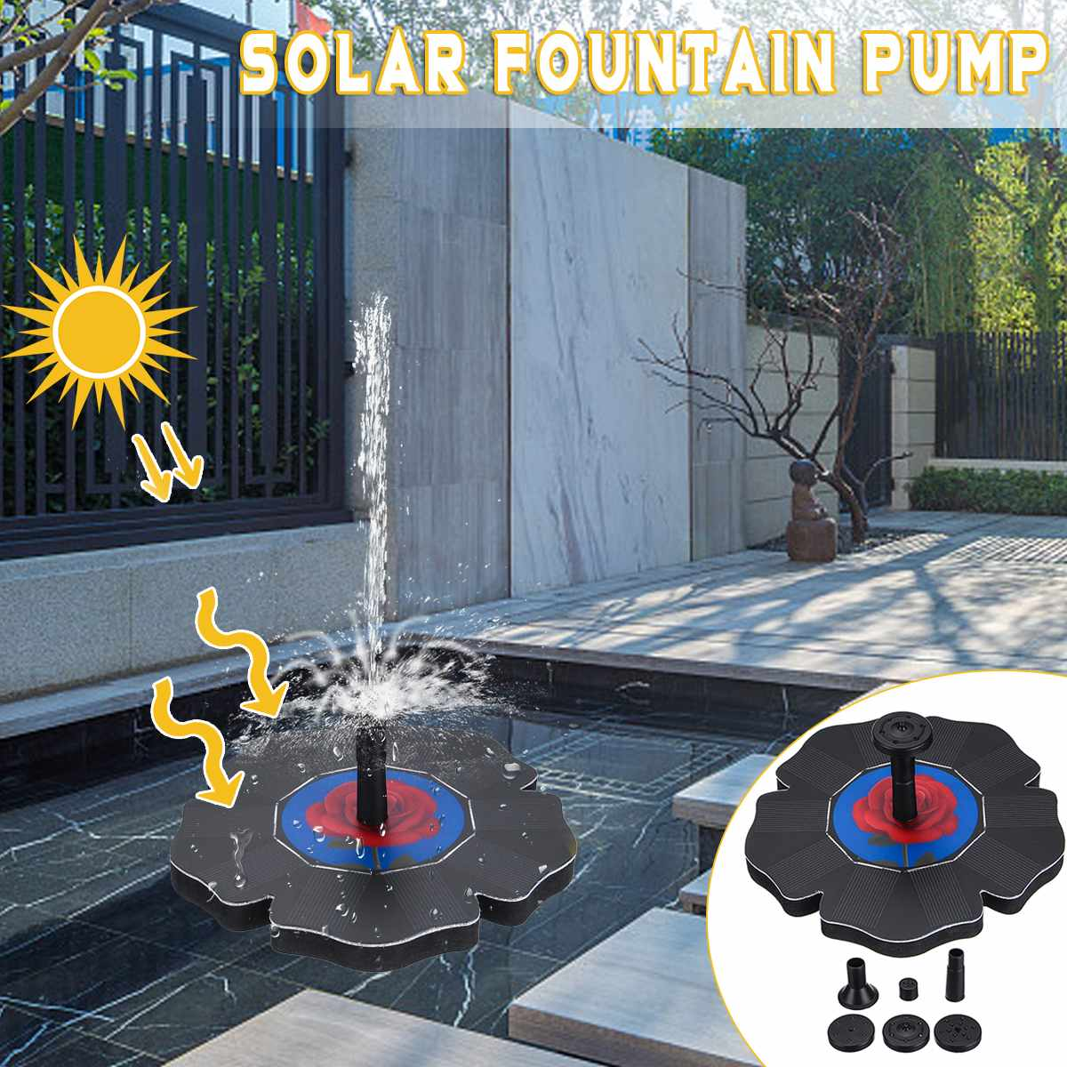 Solar Water Floating Pump Solar Power Water Pump Floating Panel Pool Garden Pond Landscape + 6 Spray Heads Solar Garden Outdoor
