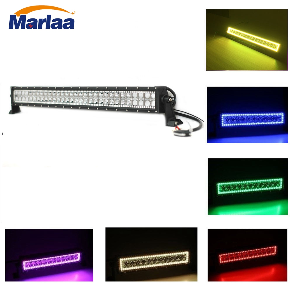 32inch 180W Double Row LED Light Bar Straight RGB HALO Ring Control by Remote Bar Led for Auto Boat Car Truck SUV ATV Off Road
