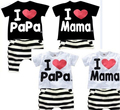 2-5 years Summer children clothing Cotton I Love Mom and Dad pattern sleeve T-shirt + shorts clothing set children 2pcs