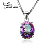 Овальном вогнутый мистик топаз своих изящных jewelrypalace радуга подвеска стерлингового серебра