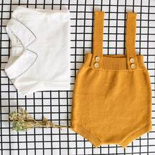 36dae227c675 Baby Boy Girl Clothes Cotton Jumpsuits Tall Waist Overalls Baby Knitting  Rompers Cute Sleeveless Clothing Four