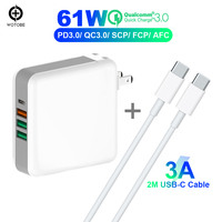 TYPE C USB C Power Adapter PD 61W QC3.0 18W Charger For Huawei/Samsung/Google For iPad iPhone MacBook (Standardized USB C cable)