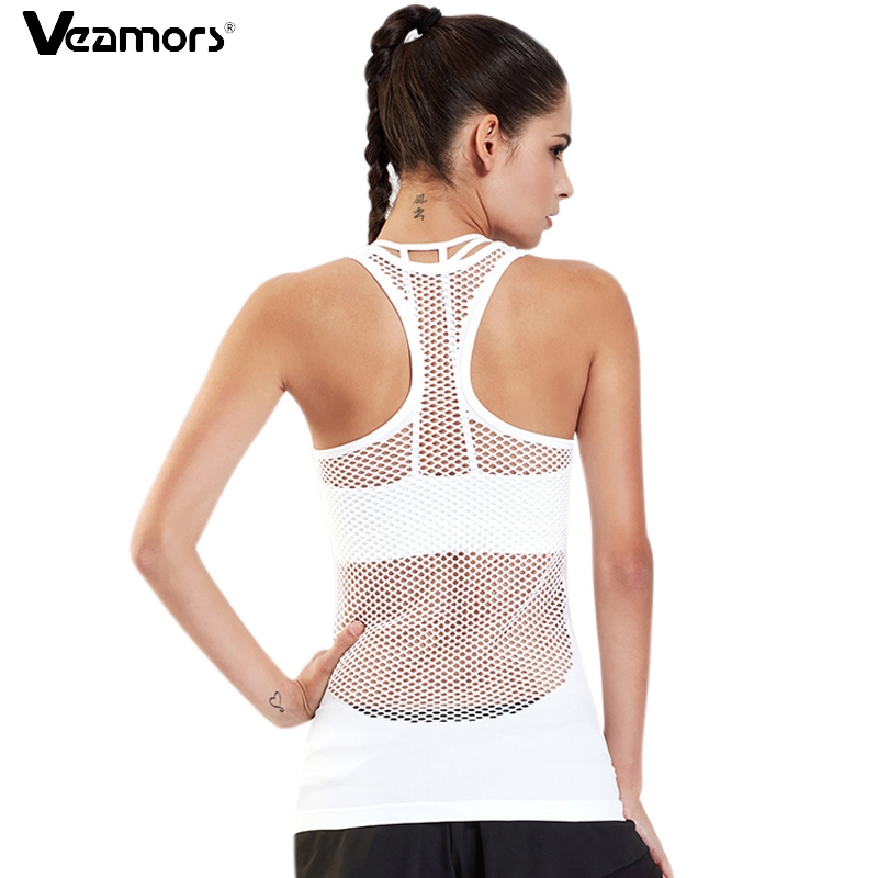 VEAMORS Women Yoga Shirts Tops Hollow Out Breathable Fitness Sport T Shirts Gym Running Vest Tank Tops Workout Female T-shirt grid hollow design t shirts in army green