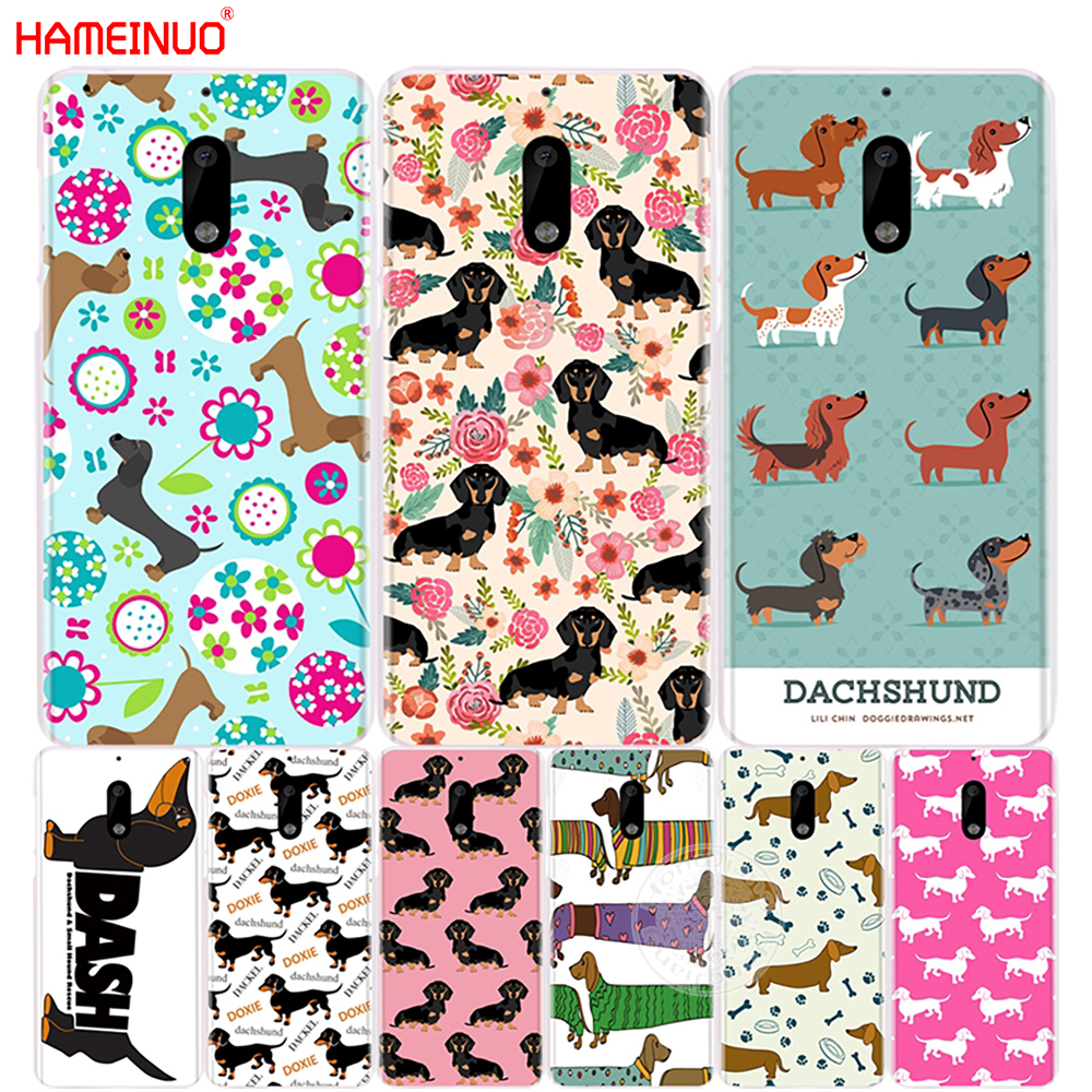 HAMEINUO dachshund doxie flower <font><b>dog</b></font> puppy cover phone <font><b>case</b></font> for <font><b>Nokia</b></font> 9 8 7 6 5 <font><b>3</b></font> Lumia 630 640 640XL 2018 image