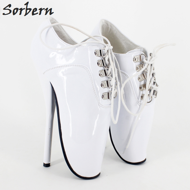 773193e5bd56 Sorbern Woman Boots 18cm High Spike Heel Black Ankle Ballet Boots Lace-up  Pointed Toe Sexy Fetish Thin Heel Shoes