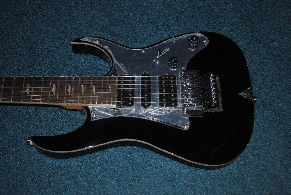 full black 7 string electric guitar