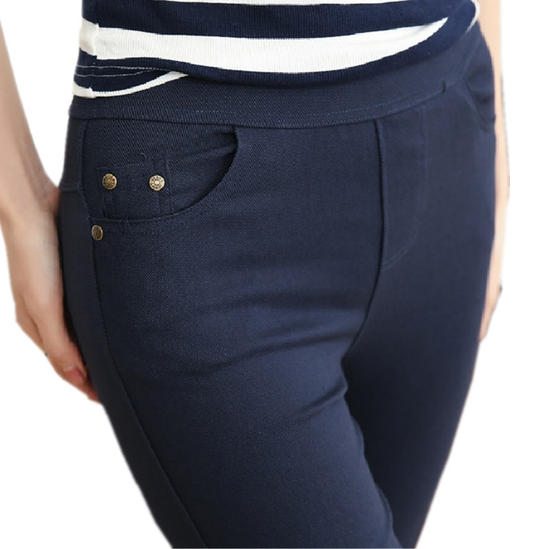 Plus Size Women's Pencil   Pants   Women Casual   Capris   Black Navy Elastic Waist Female Bottoming   Pants   Palazzo Formal Trousers