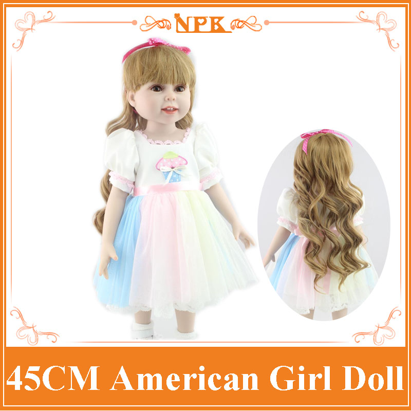 18Inch Doll American Girl With Long Curly Hair in One-Piece Summer Dress Lifelike Full Vinyl Baby Doll As  Girls Gift Brinquedos new arrival 18inch doll npk american sweet girl with curly long hair in floral skirt dress bonecas bebe kids gift brinquedos