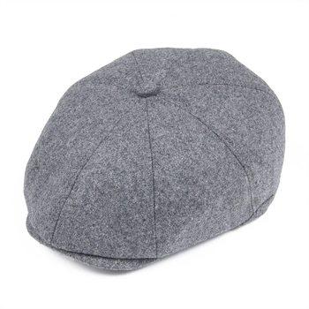 VOBOOM Grey casquillo de los hombres de Tweed en espiga 900aadb0722