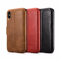 ICARER 2 in 1 Detachable Cover Business Style Retro Genuine Leather Card Wallet Flip Cover Case For For iPhone X Xs 5.8 inch
