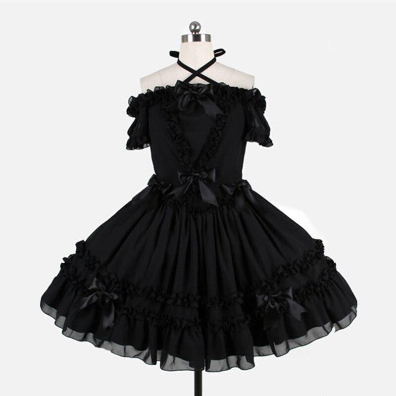 Haute qualité 2018 rouge et noir Slash cou arc gothique Lolita robe Costumes pour femmes personnalisé - 3