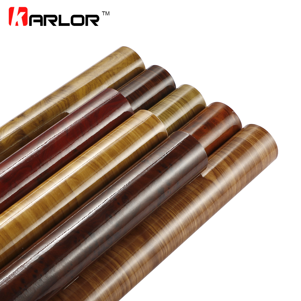 10*100cm Glossy Wood Grain Pvc Vinyl Film Car Internal Decoration Sticker Wrap Waterproof Wood Grain Textured Decal Car Styling