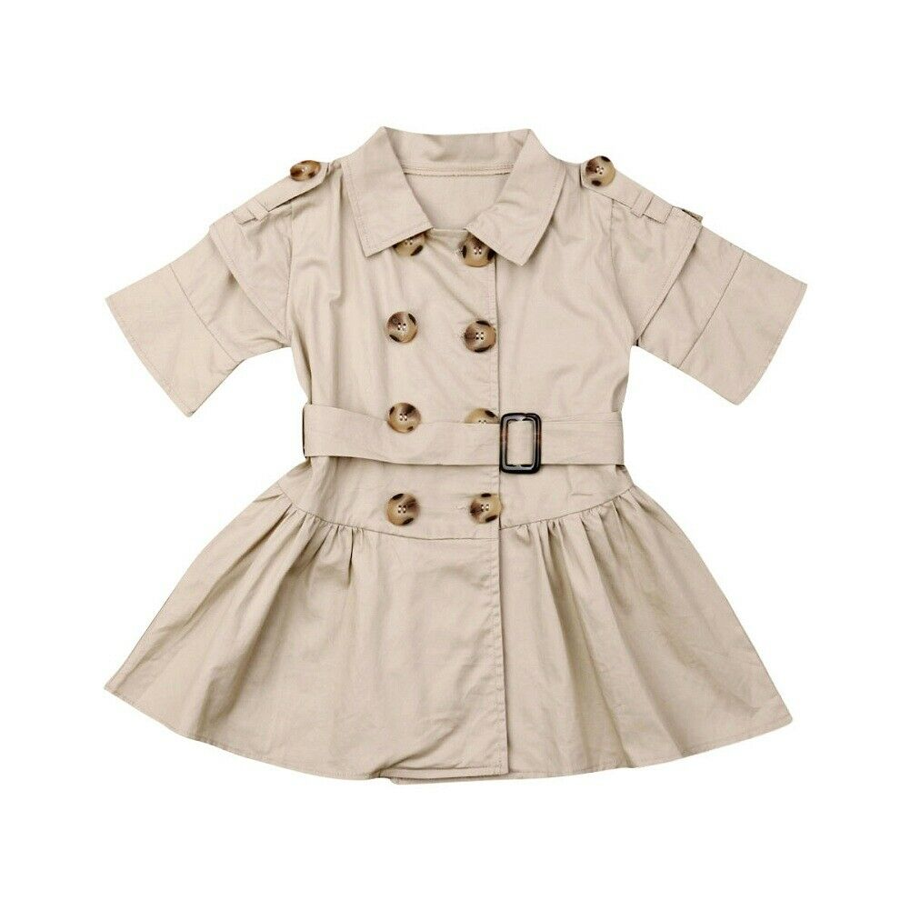 1-7Years  Summer Kids Baby Girls Short Sleeves Clothes Double-Breasted Wind Coat Dress(China)