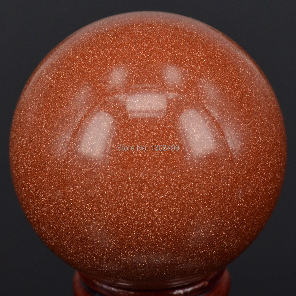 """Natural Stone Gemstone 50MM (2"""") Red Goldstone Sand Sphere Crystal Ball Chakra Healing Reiki Stone Carving Crafts"""