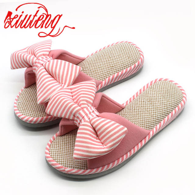 985a8edd2b3ae Xiuteng Candy color Warm Home Slippers Women Bedroom Winter Slippers  Cartoon Bowtie Indoor Slippers Cotton Floor