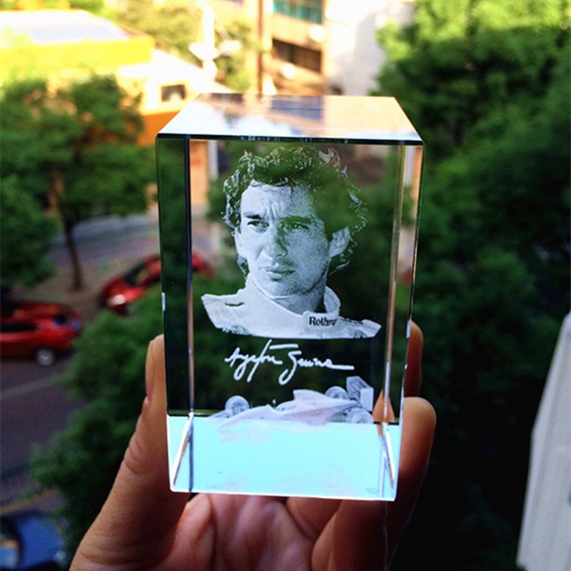 3D laser Ayrton Senna da Silva Racing driver Crystal Glass Paperweight Souvenir Kids Birtherday Gift & Business Gifts