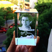 3D laser Ayrton Senna da Silva Racing driver Crystal Glass Paperweight Souvenir Kids Birtherday Gift & Business Gifts