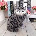 Серые Кошки игрушка питомец будет пиппи детей домашние животные кошка плюшевые игрушки модель украшения подарки на день рождения Электронных Домашних Животных куклы дети животных подарок