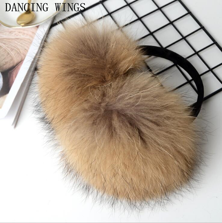 High Quality Unisex Real Raccoon Fur Earmuffs Womens Real Fur Ear Warmer Winter Earmuffs Men Women