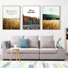 Mountain Forest Rail Quotes Scandinavian Wall Art Canvas Painting Nordic Posters and Prints Pictures for Living Room Decor