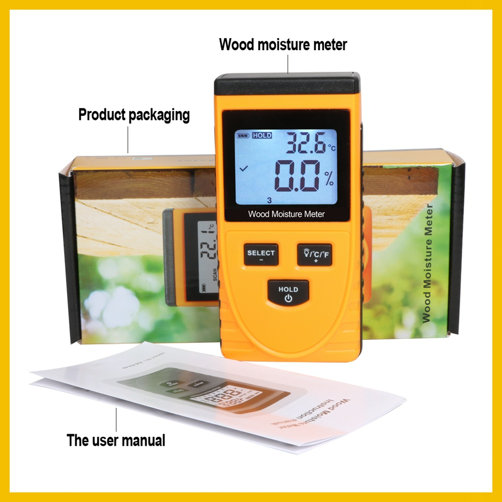 RZ EMT01 Inductive Wood Moisture Meter with Data Hold Function and Backlight LCD Display 5