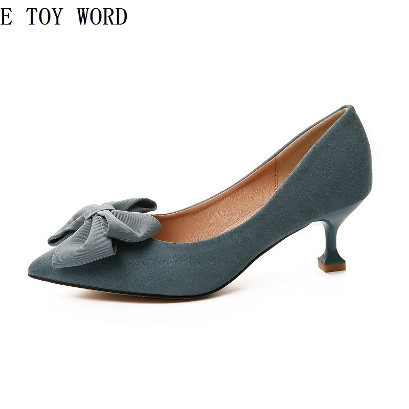 Single women shoes in the autumn of 2018 han edition joker bow pointed mouth shallow fine work with high heel fashion shoes [328] women autumn fashion shoes pu skin shallow low heeled shoes with high heel pointed shoes for ol lss 888